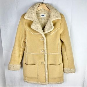 OLD NAVY suede sherpa jacket Sz S